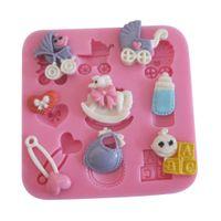 baby jello - 1PCS Baby Care Chocolate Candy Jello D Silicone Mold Soap Mould Cartoon Figre Cake Tools C006
