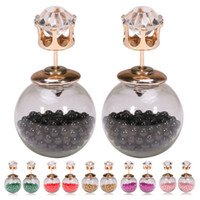 Wholesale 12pairs Women s Transparent Glass Ball Earrings With Beads Double Sides Crystal Crown Earstuds Girls Accessories je046
