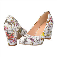 Cheap Wholesale-High Heels 2015 Women Shoes Heels Round Toe Square Heels Female Flower Pumps Cheap Work Shoes Womens Yellow Red Large size 9 10