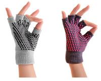 active pilates - GL05 Women Men Prousource Super Grippy Non slip Gray Yoga Gloves Anti slip Grip Fingerless Sports Exercise Pilates Warm Gloves