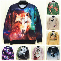 Wholesale Couture new spring men women D pullover hoodies printed animal wolf panda cat galaxy space funny sweatshirts crewneck tops