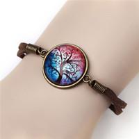 beaded cabochons - Newest Bracelet Bangles Vintage HARAJUKU Glass Leather Bracelets Colorful Flatback Cabochons Leather Bracelet For Women
