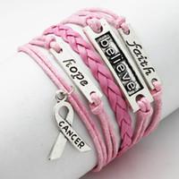 achat en gros de faux bracelets en cuir gros-Gros-Fashion multicouche tressé simili cuir Croyez Foi Espoir Knot Charm Bracelet Wrap Bracelet bricolage