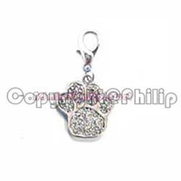 Wholesale New crystals metal rhodium paw print charm dog collar ornament jewelry accessories