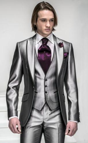 2017 Wholesale /Custom Made Design Side Slit Silver Men'S Suits ...