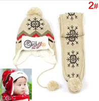 baby earflap hat knitting pattern - Set Cap Scarf Child winter Cap scarf set Kids Snow Pattern knitted Cap with Earflap Warm hat For Years baby H46
