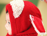 baby russian hat - New Novelty Winter Warm Baby Toddler Cotton Cap Children Kids Hat amp Scarf Set Conjoined cap For European Russian Free