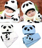 Wholesale warm scarf cute panda hat and scarf set for new born baby girl boy scarves animals design baby winter caps