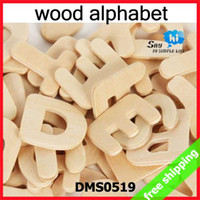 Wholesale packs Wooden Alphabet Letters Kids Learning DIY Hand Painted Children Draw Early Educational Gift