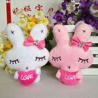 Cheap Wholesale-Cute plush toy doll rabbit white pink girl soft mini PP cotton flower bouquet material phone charm letter LOVE for wedding