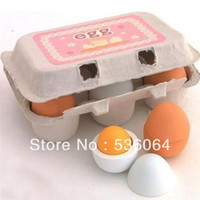 Wholesale Freeshipping Educational Kid Pretend Play Toy Set Wooden Eggs Yolk Kitchen Cooking New