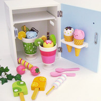 Wholesale Mother Garden Strawberry Blue Mini Single Door Refrigerator Wooden Kitchen Toys Baby Gift High quality