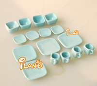 japanese ceramics - Doll house dollhouse mini model toy light blue japanese style ceramic tea set