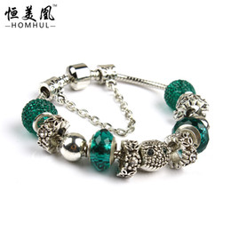 Wholesale-Free Shipping valentine European 925 Silver Bracelets fit  Style Bracelets for Women With Owl Crystal Beads GW02