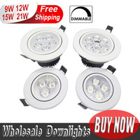 Cheap Wholesale-2pcs LED Downlight Dimmable CREE 9W 12W 15W 21W items White shell lights for home Bathroom living room kitchen lighting