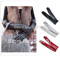 Wholesale pairs Sexy Ladies Womens Opera Evening Party Faux Leather Mittens PU Over Elbow Long Gloves L Size