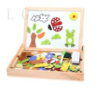 animals magnetism - New Fantastic Wooden Animal Magnetism Easel Doodle Drawing Board Jigsaw Blackboard Toy For Children