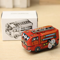 Cheap Wholesale-Free Shipping Vintage Classic Firefighter Fire Engine Truck Clockwork Wind Up Tin Toys Perfect For Children