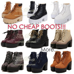 Wholesale Stylenanda Fashion Yellow Black White Autumn Boots Creepers Lace Up Combat Ankle Boots Heels Flat Platform High Top Shoes