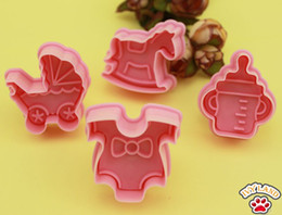 Wholesale New Best Wishes Baby Stroller Design Sugar Craft Plunger Cookie Cutter Mold Tool