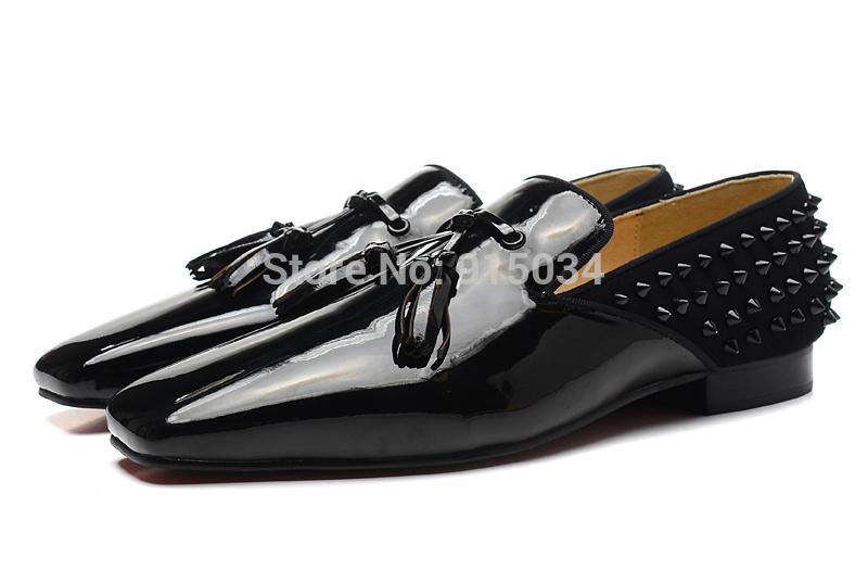 christian louboutin mens shoes - Men Genuine Leather Spikes Shoes Red Bottoms Loafers Gentlemen ...