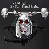 Wholesale Skull Motorcycle Turn Signal Rear Brake Tail Light License Plate Lamp For Moto Bike