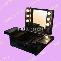 aluminium trunk - to United States Canada Mexico classic black aluminium makeup case with lights bulbs trolley makeup station