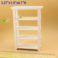 wood bookcase - scale Dollhouse Miniatures Wood Furnitures White Bookcase shelving