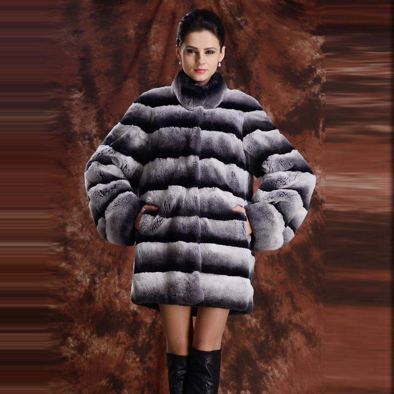 2017 Wholesale Top Quality New Real Fur Coat Striped Chinchilla ...