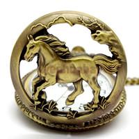 Wholesale Bronze horse Hollow Quartz Pocket Watch Necklace Pendant Womens Men GIfts P247