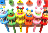bell musical instruments - N198 A Wooden Musical Instrument Rattle Toy Baby Kid Infant Educational Gift toys wooden crafts wooden rattle bed bell ringing