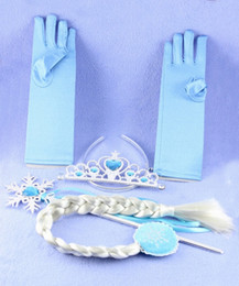 Wholesale Crown Elsa children role play hairpiece gloves Wand Kit Christmas toys set