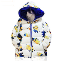Wholesale 2015 new winter boys down coat despicable me minion girls outwear minions Children clothes YLF06