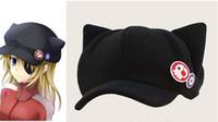 Cheap Wholesale-Anime Neon Genesis Evangelion EVA Asuka Langley Soryu Cat Ear Polar Fleece Cosplay Hat for woman Cap + badges