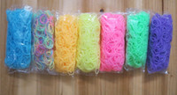 Cheap DIY TOY refill rubber bands glow in the dark new style jelly rubber bands for loom kit 600pcs+25clip free shipping 7packs lot