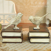 polyresin statue - Vintage Pastoral Polyresin Bird Model Statue Bookend Pair Decorative Organizer Craft Accessories for Office Desk and Study Room
