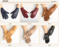 fashion fingerless leather gloves - Winter Fashion Genuine Leather natrual Sheepskin Women Gloves Warm Fleece Gloves Motorcycle Cycling Leather Gloves for Women2799