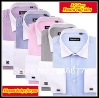 shirts for men italian - Luxury Italian spread collar XS XXXXL striped french cuff dress shirt for men camisa QR