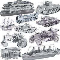 Al por mayor-libre del envío 21 tipos modelo 3D del metal de DIY, Avión, barco, modelo de coche y la construcción para los niños adultos / juguetes educativos rompecabezas