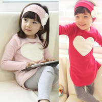Wholesale New Girls SetsToddler Girls Clothing Sets Baby Kids Heart Shirt Dress Leggings Headband Kids Cotton Outfit Y Freeshipping