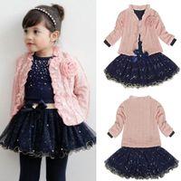 baby long coat - New Kids Outfits Baby Girls Clothing Sets Coat T shirt Skirt Dress Tutu Princess Kids Clothes Set Suit Pink Costume