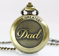 mens pocket watches - New Arrive High Quality Mens Bronze Big Size DAD men women Pocket Watch With Chain