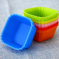 baking toppings - 10pcs Top quality Microwave Oven Silica Gel Baking Mould Square Muffin Cup Silica Gel Cake Mold Jelly Pudding Mold