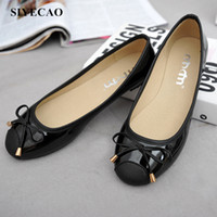 ballerina shoes - New High Quality Women flats genuine leather bowtie shoe Sexy woman flat shoes Round toe shoe ballerinas Ladies