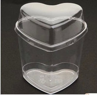 Wholesale heart shape lamy disposable plastic cup pudding mold with lid jelly Pastry Tools mousse cup