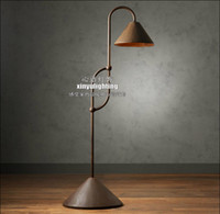 antique iron floor lamp - America Nordic creative vintage style rural Italy France antique iron connection trumpet floor lamp with retro Edison bulb