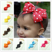 baby products - Baby Girl Headbands Polka Dot Ribbon Bow Headband flower Hair Bow Elastic Infant Kids Hairband product Children Hair Accessories