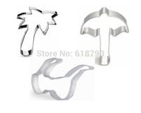 beach umbrella set - Cookie Cutter steel Sandy beach set mold for baking Coco Sun umbrella Sunglass cooking tools