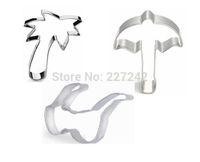 beach umbrella set - Sandy beach set Cookie Cutter steel mold for baking Coco Sun umbrella Sunglass cooking tools SC278