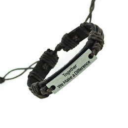 Wholesale 1PCS Together We Make A Difference Genuine Leather Bracelet Charm Cuff Bangle Handmade Jewerly For Woman Men